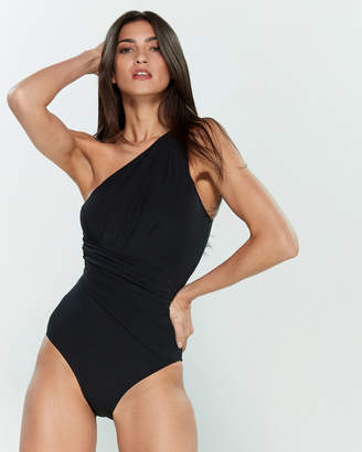 Michael Kors One-Shoulder Shirred One-Piece Swimsuit