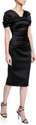 Talbot Runhof Satin Duchesse Midi Dress