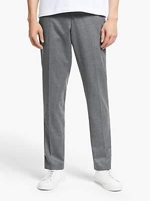 KIN Italian Super 120s Wool Flannel Slim Fit Suit Trousers, Grey