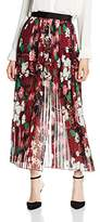 French Connection Women's Bloomsbury Garden Sheer Skirt Pleated Floral Skirt,12