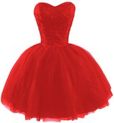 Sisjuly Women's Short Sweetheart Sequined Lace Tulle Ball Gown Homecoming Dress