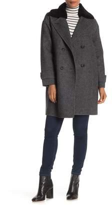 Trina Turk Briana Genuine Lamb Shearling Collar Plaid Coat