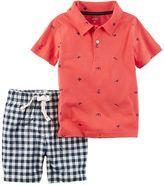 Carter's Toddler Boy Beach Theme Print Polo Shirt & Gingham Plaid Shorts Set