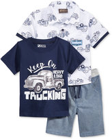 Nannette 3-Pc. Car-Print T-Shirt, Shirt & Shorts Set, Toddler & Little Boys (2T-7)