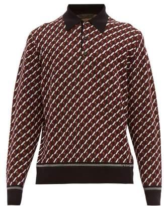 Prada Geometric-jacquard Long-sleeved Polo Shirt - Mens - Black Burgundy
