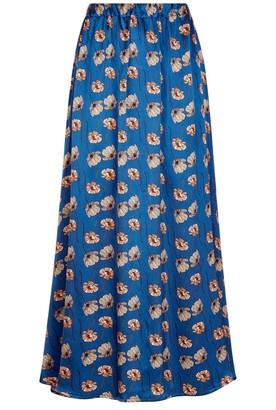 Phoebe Grace Plain Jane Floaty Skirt in Blue Poppy Print