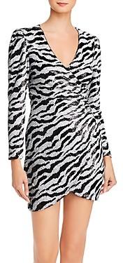 Bardot Sequined Zebra Stripe Dress