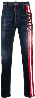 DSQUARED2 Splatter-Print Stripe-Side Jeans