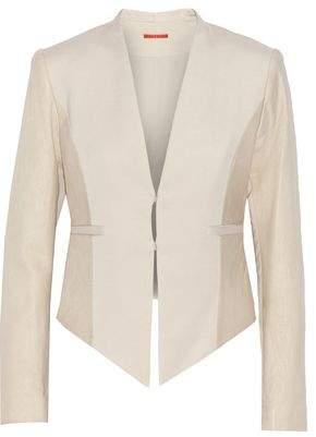 Alice + Olivia Textured Leather-Paneled Crepe Jacket