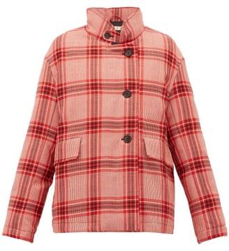 Marni Checked Padded Wool Jacket - Womens - Pink Multi