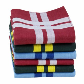 Houlife Mens Handkerchiefs 100% Cotton 60S Classic Stripe Checkered Pattern Coloured Plaid Hankies for Dad Grandad Father's Day Gift 6/12 Pieces 43x43cm Christmas Gifts