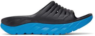 Hoka One One Black and Blue Ora Recovery Slides