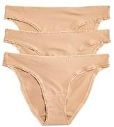 OnGossamer Cabana Cotton Stretch Hip Bikinis, Set of 3