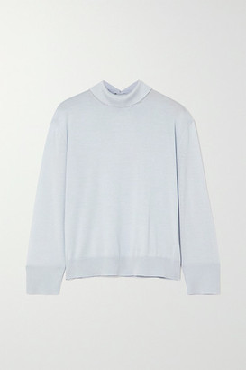 Loro Piana Lupetto Cashmere And Silk-blend Turtleneck Sweater - Light blue
