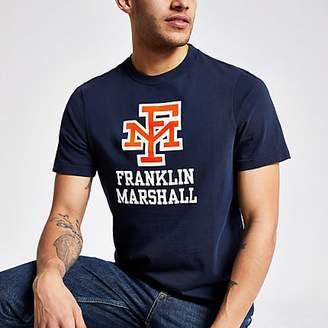 River Island Franklin and Marshall navy logo print T-shirt