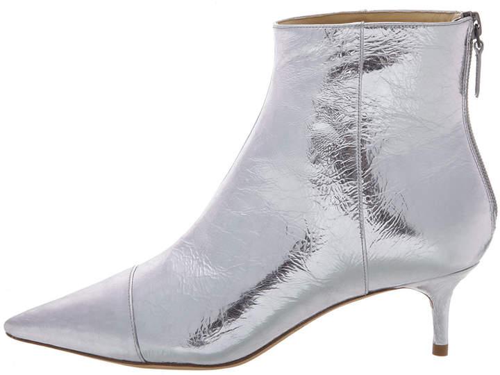 Alexandre Birman Kittie Metallic Leather Low-Heel Point-Toe Booties