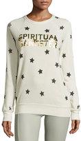 Spiritual Gangster Metallic Varsity Star-Print Sweatshirt, Cement