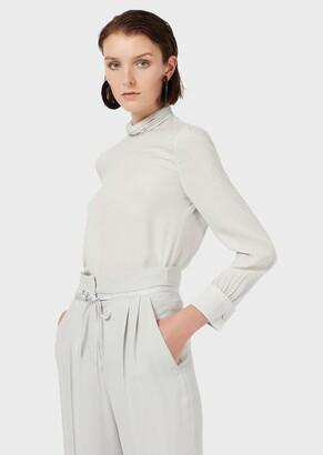 Emporio Armani High-Neck Blouse In Crepe Satin Silk With A Micro Geometric Pattern