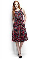 Classic Women's Petite Woven A-line Dress-Bright Cherry Floral