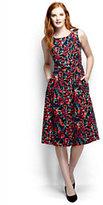 Lands' End Women's Woven A-line Dress-Warm Cinnabar Floral