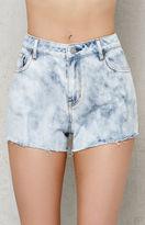 PacSun Reef Blue Acid Wash Cutoff Denim Shorts