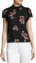 Rebecca Taylor Short-Sleeve Floral-Embroidered Lace Top, Black