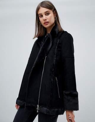 Religion spell faux fur aviator jacket-Black