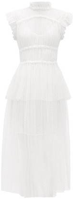 Romance Was Born Frollic Polka-dot Tulle Peplum Midi Dress - Ivory