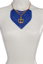 Betsey Johnson Blue Mesh Anchor Frontal Drop Necklace