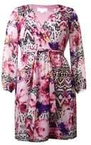 Jessica Simpson Women's Long Sleeve Chiffon Dress (14, Print)