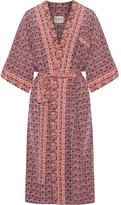 Sea Printed Silk Kimono - Red