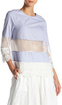 French Connection Kyra Contrast Crochet Tunic Shirt