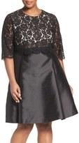Eliza J Popover Lace Bodice Mikado Fit & Flare Party Dress (Plus Size)
