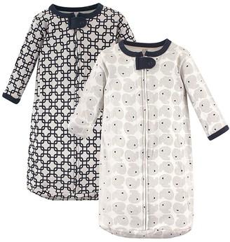 Hudson Baby Boys' Infant Sleeping Sacks Elephants - Navy & Gray Elephant Wearable Blanket Set - Newborn
