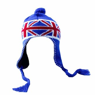 Accessoryo Unisex Union Jack UK Flag Pattern Peruvian Knitted Trapper Hat with Pom Pom detail