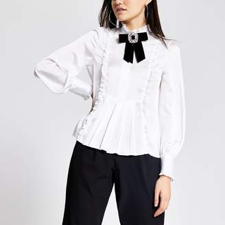 River Island Womens White diamante brooch blouse