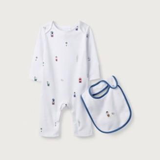 The White Company Organic Cotton London Bear Sleepsuit & Bib Set, White, 12-18mths