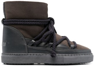 INUIKII Shearling-Lined Lace-Up Boots
