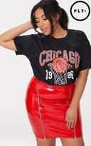 PrettyLittleThing Plus Black Chicago Slogan T-Shirt