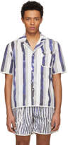 Daniel W. Fletcher White and Blue Bold Stripe Pyjama Shirt