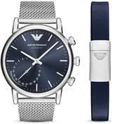Emporio Armani Armani Connected Steel Mesh Bracelet Hybrid Smartwatch Gift Set, 43mm