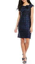London Times Shimmer Shutter-Tuck Sheath Dress