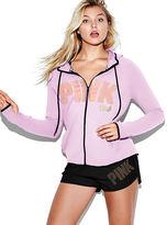 PINK Stretch Fleece High/Low Full-Zip Hoodie
