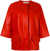 Marni three-quarter sleeve leather jacket - women - Silk/Lamb Skin - 40