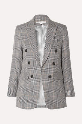 Veronica Beard Bexley Dickey Prince Of Wales Checked Linen And Cotton-blend Blazer - Navy
