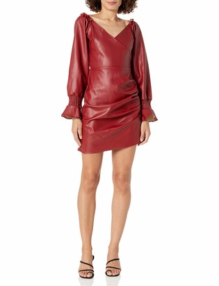 KENDALL + KYLIE Women's Plus Size Puff Sleeve Dress with Side Shirring