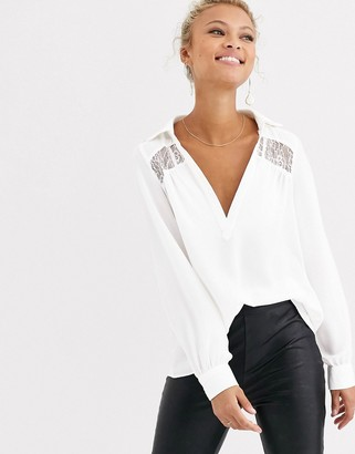 Morgan plunge front lace insert blouse in ivory-White