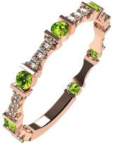 Nana Silver Stackable Ring Round Cut Rose Gold Flashed - Size 6 - Simulated Peridot - Aug. Birthstone