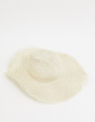 ASOS DESIGN floppy natural straw fedora with raw edge