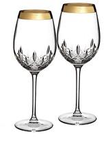 Waterford Lismore Essence Gold Goblet, Set of 2
